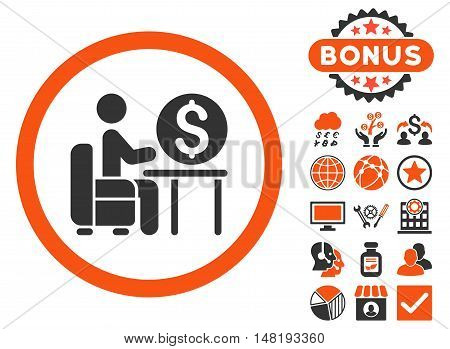 Banker Office icon with bonus design elements. Vector illustration style is flat iconic bicolor symbols, orange and gray colors, white background.