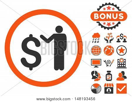 Banker icon with bonus elements. Vector illustration style is flat iconic bicolor symbols, orange and gray colors, white background.