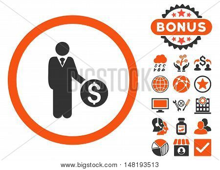 Banker icon with bonus pictogram. Vector illustration style is flat iconic bicolor symbols, orange and gray colors, white background.