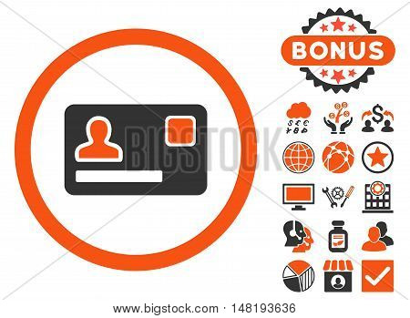 Banking Card icon with bonus images. Vector illustration style is flat iconic bicolor symbols, orange and gray colors, white background.