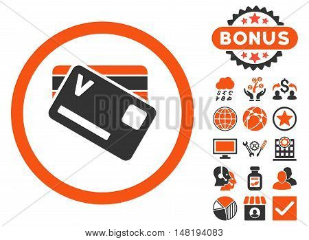 Banking Cards icon with bonus pictogram. Vector illustration style is flat iconic bicolor symbols, orange and gray colors, white background.