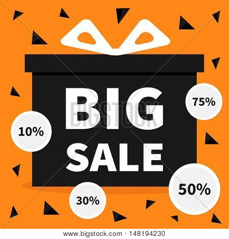 Gift box with ribbon and bow. Present giftbox Big sale halloween advertising banner poster Round circle 10 30 50 75 percent off sticker set. Special offer. Orange triangle background. Flat Vector
