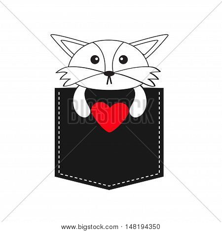 Fox in the pocket holding red heart. Cute cartoon contour character. Dash line. Forest animal collection. White and black color. T-shirt design. Baby background. Isolated. Flat Vector illustration