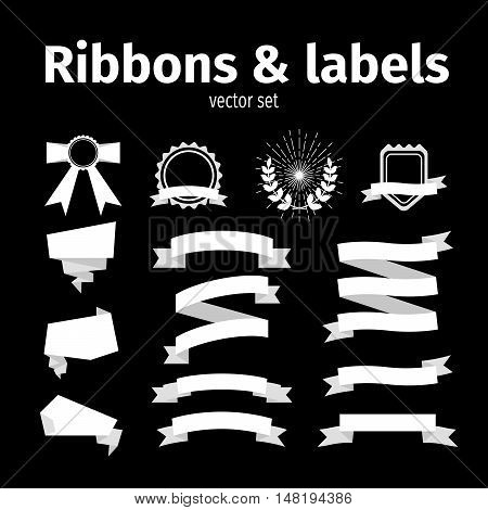 White ribbons and labels set on the black background. Vector illustration