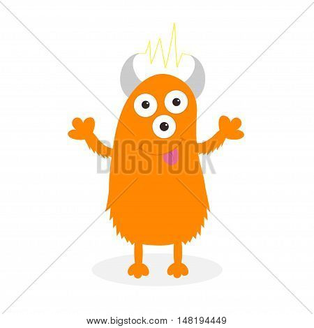 Orange monster with eyes horns tongue electricity line. Funny Cute cartoon character. Baby collection. Isolated. Happy Halloween card. Flat design. White background. Vector illustration