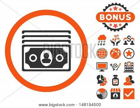 Banknotes icon with bonus pictogram. Vector illustration style is flat iconic bicolor symbols, orange and gray colors, white background.