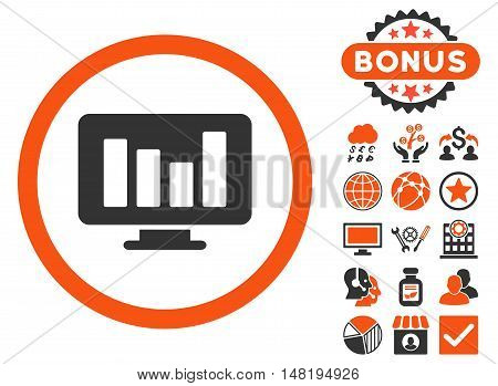 Bar Chart Monitoring icon with bonus images. Vector illustration style is flat iconic bicolor symbols, orange and gray colors, white background.