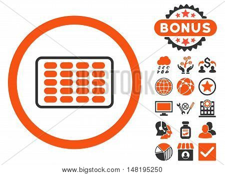 Blister icon with bonus design elements. Vector illustration style is flat iconic bicolor symbols, orange and gray colors, white background.