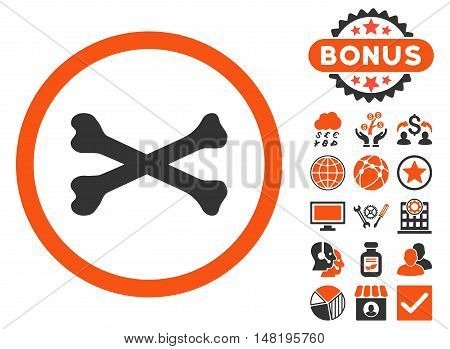 Bones Cross icon with bonus pictogram. Vector illustration style is flat iconic bicolor symbols, orange and gray colors, white background.