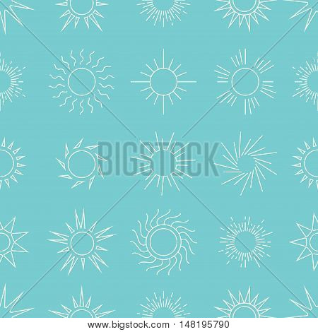 Suns in the sky seamless pattern. Linear background star. Vector illustration