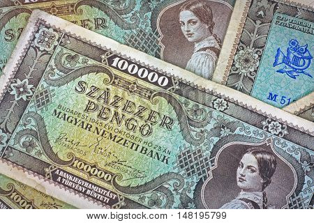 Old Hungarian lakh pengo money with post stamp