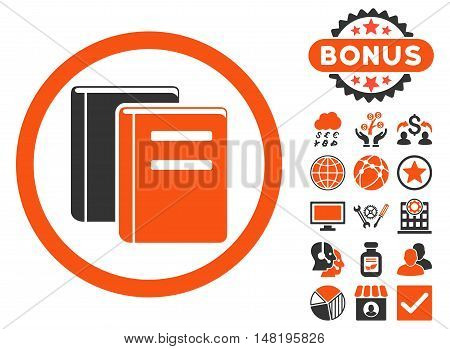 Books icon with bonus elements. Vector illustration style is flat iconic bicolor symbols, orange and gray colors, white background.