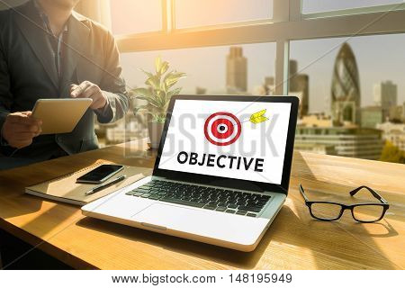 Objectives Word , Business Concept