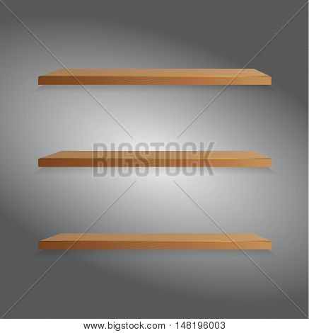 Vector wooden shelf. Isolation over dark background. Book library.