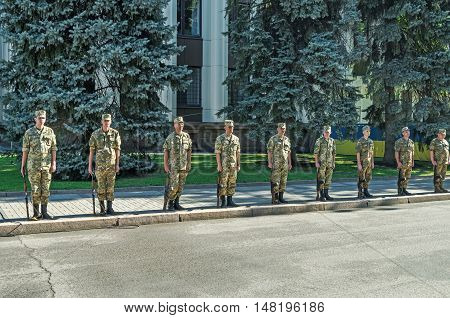 Dnepropetrovsk Ukraine - August 23 2015: Guard of honor during the celebration of the state flag of Ukraine
