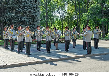 Dnepropetrovsk Ukraine - August 23 2015: Performance military band on the feast day of the state flag of Ukraine