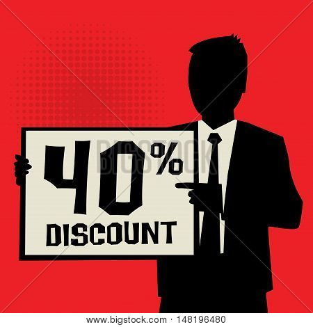Man showing board business concept with text 40 percent Discount vector illustration