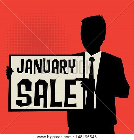 Man showing board business concept with text January Sale vector illustration