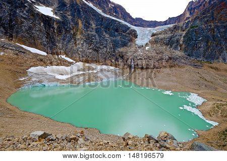 Green lake, mountains and glacier. Edith Cavell Mount and lake. Jasper National Park. Canadian Rockies. Alberta. Canada.