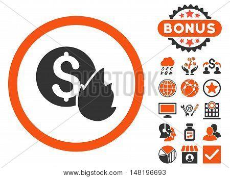 Burn Money icon with bonus images. Vector illustration style is flat iconic bicolor symbols, orange and gray colors, white background.