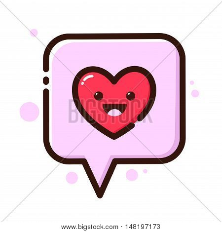 Vector stock of heart in a speech bubble flat icon