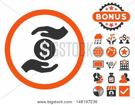 Business Insurance Hands icon with bonus pictures. Vector illustration style is flat iconic bicolor symbols, orange and gray colors, white background.