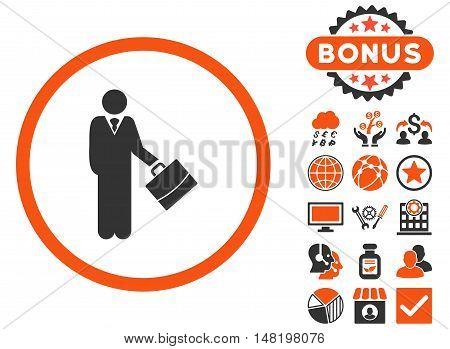 Businessman icon with bonus symbols. Vector illustration style is flat iconic bicolor symbols, orange and gray colors, white background.