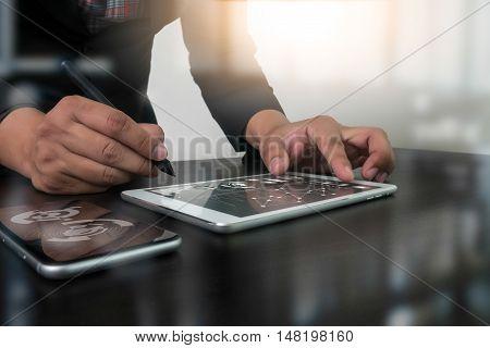 Website Designer Working Digital Tablet And Computer Laptop