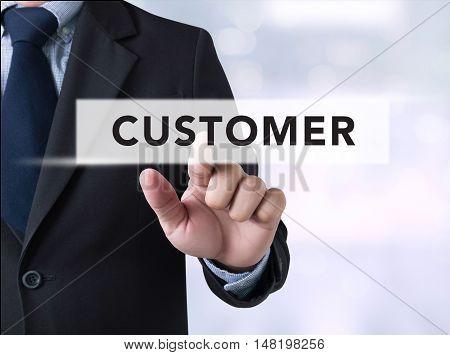 Businessman Touching A Touch Screen , Customer