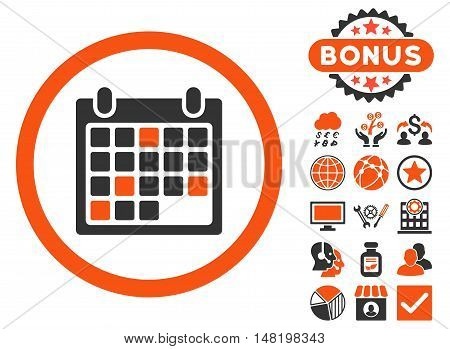 Calendar Appointment icon with bonus pictures. Vector illustration style is flat iconic bicolor symbols, orange and gray colors, white background.