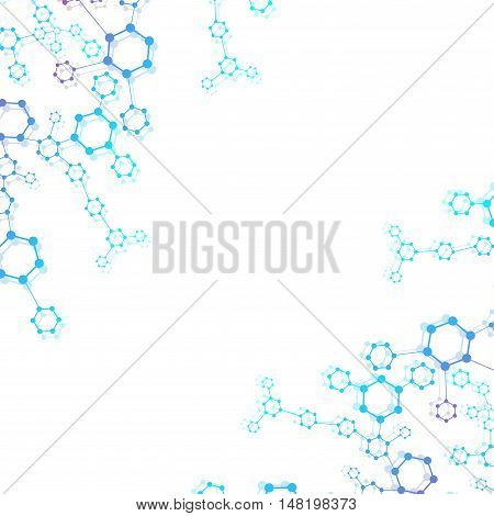 Molecule structure and communication on the blue background. Vector illustration