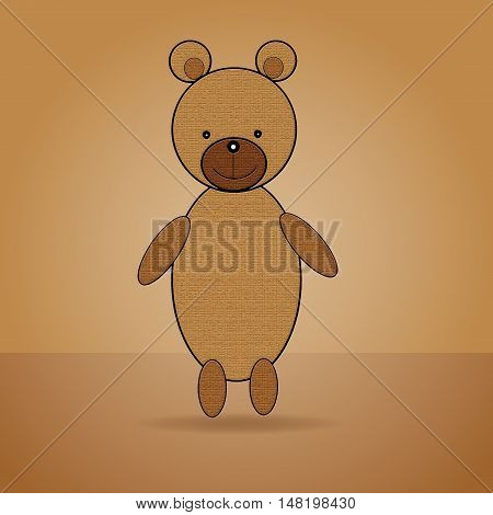 Abstract brown teddy bear. Abstract brown background.
