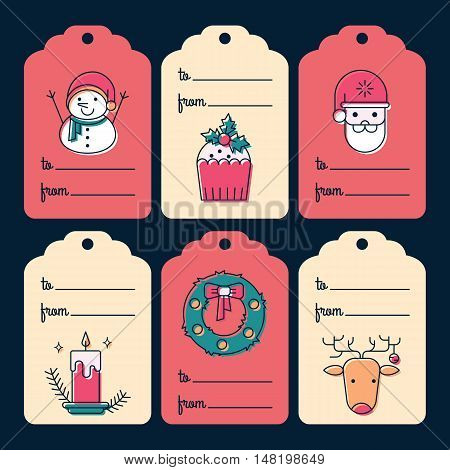 Vector set of unique Christmas gift tags. New Year greetings isolated on background. Holiday decoration elements with line stile characters.