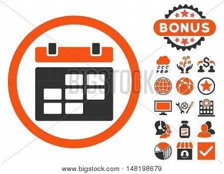 Calendar icon with bonus elements. Vector illustration style is flat iconic bicolor symbols, orange and gray colors, white background.
