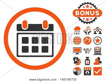 Calendar icon with bonus pictogram. Vector illustration style is flat iconic bicolor symbols, orange and gray colors, white background.