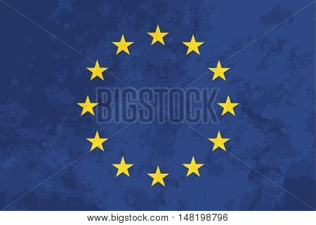 True proportions European Union flag with grunge texture
