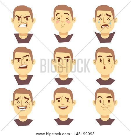 Man emotions faces vector cartoon business characters set. Mood joyful or aggressive, character face sad or happy illustration