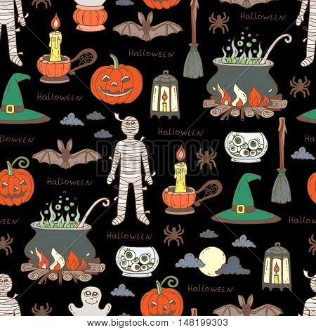 Vector seamless hand drawn pattern on the theme of Halloween. Pattern with isolated Halloween symbols - pumpkin candle mummy cauldron broom spider on black color. Background for use in design, web site, packing, textile, fabric