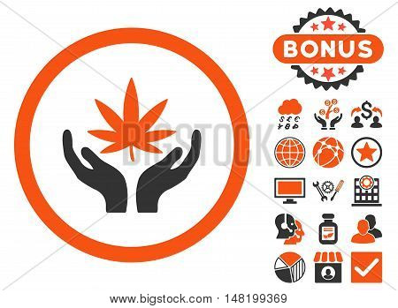 Cannabis Care Hands icon with bonus pictures. Vector illustration style is flat iconic bicolor symbols, orange and gray colors, white background.