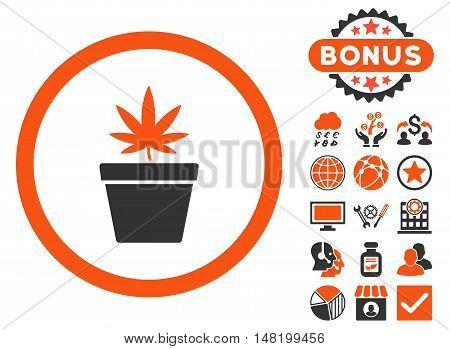 Cannabis Pot icon with bonus pictogram. Vector illustration style is flat iconic bicolor symbols, orange and gray colors, white background.