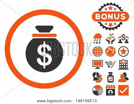 Capital icon with bonus pictogram. Vector illustration style is flat iconic bicolor symbols, orange and gray colors, white background.