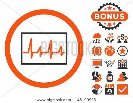 Cardiogram icon with bonus images. Vector illustration style is flat iconic bicolor symbols, orange and gray colors, white background.