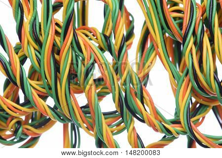 Computer cables and wires  isolated on white background