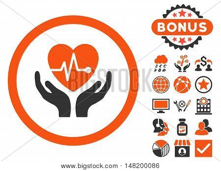 Cardiology icon with bonus symbols. Vector illustration style is flat iconic bicolor symbols, orange and gray colors, white background.