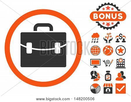 Case icon with bonus pictogram. Vector illustration style is flat iconic bicolor symbols, orange and gray colors, white background.