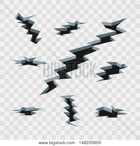 Cartoon cracks in the ground isolated on transparent checkered background vector set. Earthquake and split on surface illustration