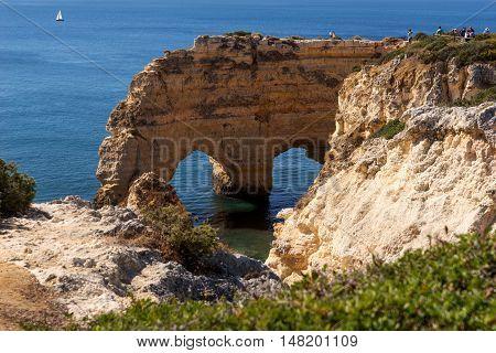 Cliffs at the beach praia da Marinha, Algarve, Portugal