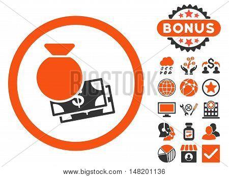 Cash Money icon with bonus images. Vector illustration style is flat iconic bicolor symbols, orange and gray colors, white background.