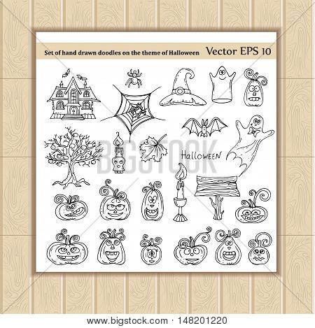 Vector set of hand drawn doodles on the theme of Halloween. Illustrations of Halloween isolated symbols on white color. Sketches for use in design, web site, packing, textile, fabric