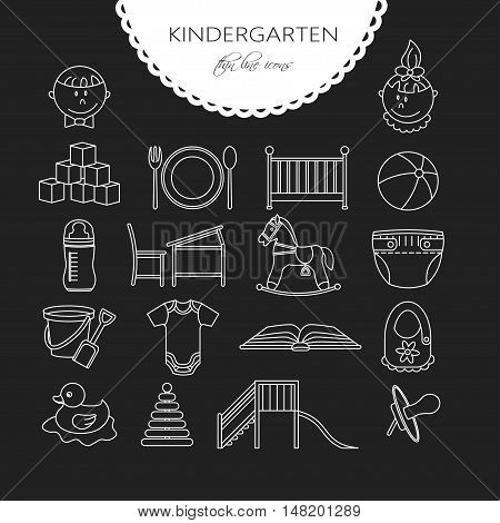 Child and baby care center thin line icons. Kindergarten vector logo. Diaper, sandpit, slide, horse, ball, bottle, crib pacifier